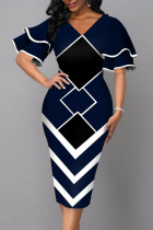 Black Elegant Geometric Print Split Joint V Neck Pencil Skirt Dresses