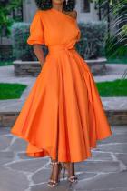 Orange Casual Solid Split Joint One Shoulder Cake Skirt Dresses