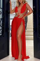 Red Elegant Solid Lace Split Joint Backless V Neck Evening Dress Dresses