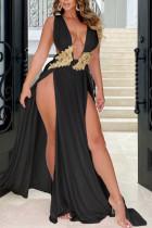Black Elegant Solid Lace Split Joint Backless V Neck Evening Dress Dresses