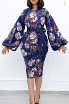Blue Fashion Casual Print With Belt O Neck Long Sleeve Dresses