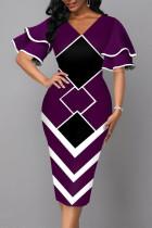 Purple Elegant Geometric Print Split Joint V Neck Pencil Skirt Dresses