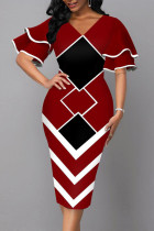 Burgundy Elegant Geometric Print Split Joint V Neck Pencil Skirt Dresses