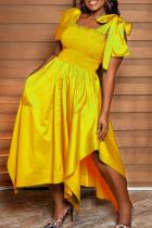 Gold Casual Solid Split Joint Square Collar Irregular Dress Dresses