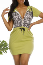 Army Green Fashion Casual Print Leopard Split Joint Oblique Collar Short Sleeve Dress