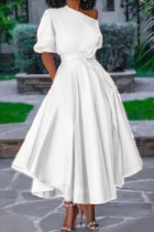White Casual Solid Split Joint One Shoulder Cake Skirt Dresses