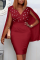 Burgundy Sexy Solid Pearl V Neck Pencil Skirt Dresses
