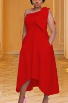 Red Casual Solid Split Joint One Shoulder Irregular Dress Dresses