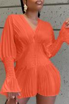 Tangerine Red Sexy Solid Mesh V Neck Cake Skirt Dresses