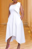 White Casual Solid Split Joint One Shoulder Irregular Dress Dresses