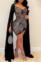 Silver Fashion Sexy Patchwork Hot Drill Square Collar Long Sleeve Dresses