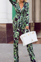 Green Casual Work Print Split Joint Turn-back Collar Long Sleeve Two Pieces