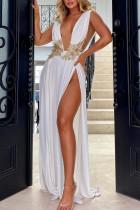 White Elegant Solid Lace Split Joint Backless V Neck Evening Dress Dresses
