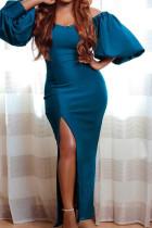 Peacock Blue Elegant Solid Split Joint Slit Off the Shoulder Evening Dress Dresses