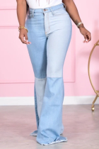 Baby Blue Casual Solid Split Joint Mid Waist Boot Cut Denim Jeans