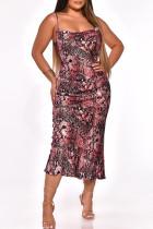 Pink Fashion Sexy Print Backless Spaghetti Strap Long Dress