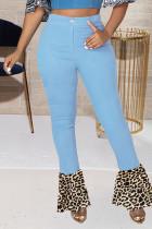 Light Blue Fashion Casual Leopard Split Joint High Waist Regular Jeans