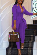 Purple Casual Solid Split Joint Turn-back Collar Long Sleeve Two Pieces