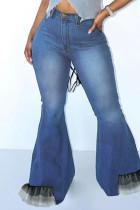 Blue Fashion Casual Patchwork Buttons Zipper High Waist Boot Cut Jeans