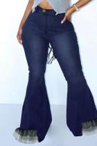 Deep Blue Fashion Casual Patchwork Buttons Zipper High Waist Boot Cut Jeans