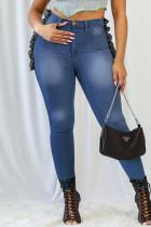 Medium Blue Fashion Casual Patchwork Basic Plus Size Jeans
