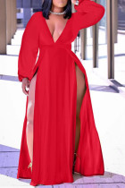 Red Casual Solid Split Joint High Opening V Neck Straight Plus Size Dresses