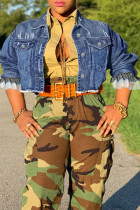 Deep Blue Fashion Street Solid Split Joint Turndown Collar Long Sleeve Denim Jacket
