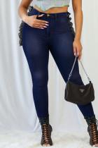 Deep Blue Fashion Casual Patchwork Basic Plus Size Jeans