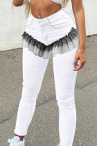 White Fashion Street Solid Split Joint High Waist Denim Jeans