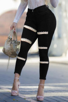 Black Fashion Street Solid Ripped Split Joint Plus Size Jeans