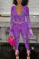 Purple Sexy Print Split Joint Frenulum V Neck Long Sleeve Two Pieces