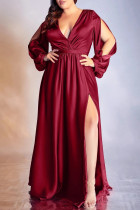 Red Fashion Sexy Solid Hollowed Out Slit V Neck Evening Dress Plus Size Dresses
