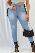 Light Blue Fashion Casual Patchwork Basic Plus Size Jeans