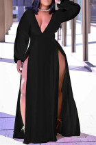Black Casual Solid Split Joint High Opening V Neck Straight Plus Size Dresses