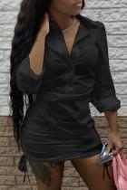 Black Fashion adult Ma'am Street Shirt sleeves Long Sleeves Turndown Collar Step Skirt skirt Solid Dresses
