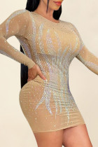 Apricot Sexy Hot Drilling Split Joint See-through O Neck Long Sleeve Dresses