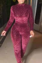 Burgundy Fashion Casual Leopard Printing Turtleneck Plus Size Jumpsuits