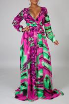 Pink Green Sexy Print Split Joint V Neck Cake Skirt Dresses