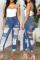 Deep Blue Fashion Casual Patchwork Leopard Ripped High Waist Regular Jeans