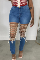Medium Blue Fashion Street Solid Ripped Plus Size Jeans