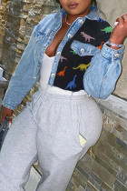 Baby Blue Fashion Street Patchwork Turndown Collar Denim Jacket