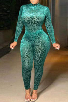 Green Fashion Casual Leopard Printing Turtleneck Plus Size Jumpsuits