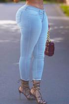 Light Blue Fashion Street Solid Split Joint High Waist Denim Jeans