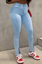 Light Blue Fashion Casual Solid Slit High Waist Jeans