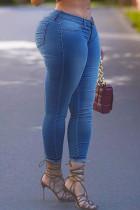 Medium Blue Fashion Street Solid Split Joint High Waist Denim Jeans