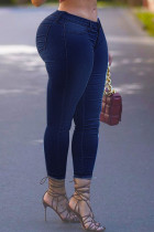 Deep Blue Fashion Street Solid Split Joint High Waist Denim Jeans