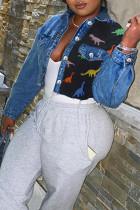 Dark Blue Fashion Street Patchwork Turndown Collar Denim Jacket