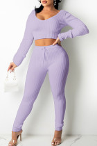 Purple Casual Solid Split Joint V Neck Long Sleeve Two Pieces