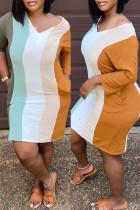 Colour Fashion Casual Striped Basic V Neck Long Sleeve Dresses pre-sale