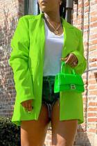 Green Fashion Casual Solid Cardigan Turn-back Collar Outerwear